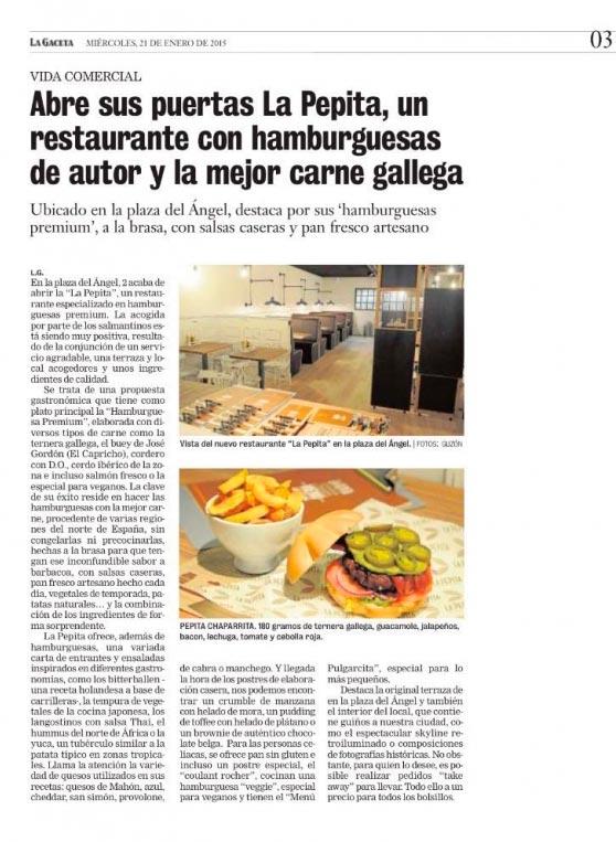 La pepita abre sus puertas en salamanca la pepita burger bar for La pepita burger salamanca
