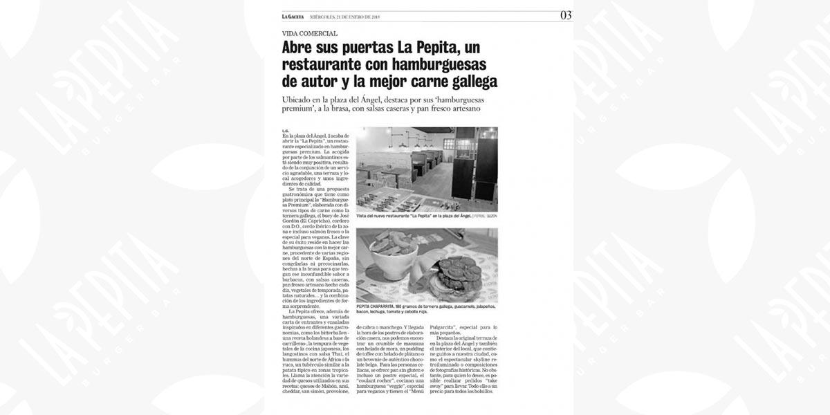 Prensa archivos la pepita burger bar for La pepita burger salamanca